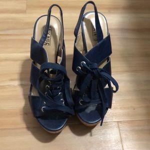 Mix No. 6 Shoes - Blue wedges